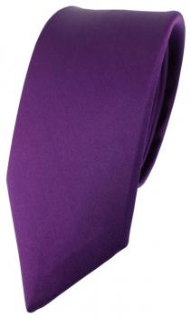 schmale TigerTie Satin Seidenkrawatte lila violett Uni Tie Krawatte 100/% Seide