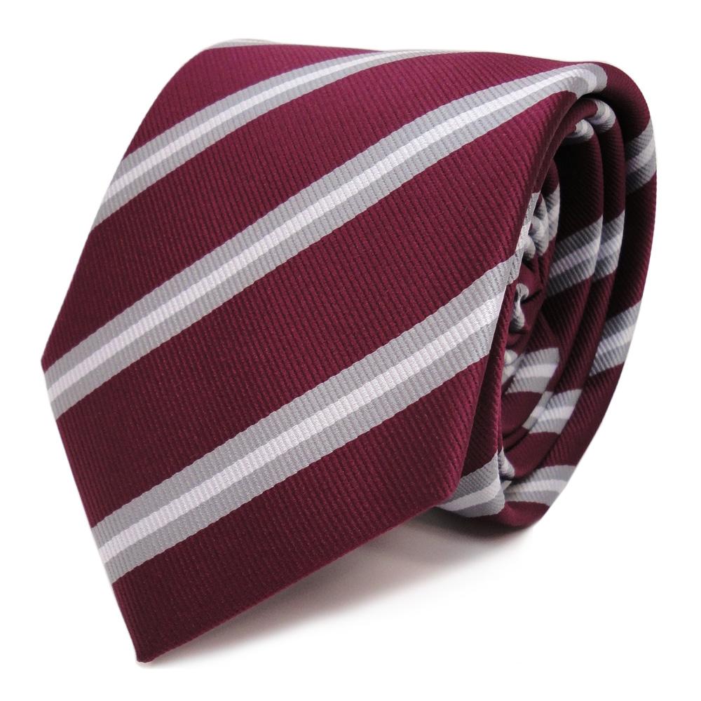TigerTie Designer Krawatte in bordeaux pink rosa grau silber schwarz gestreift
