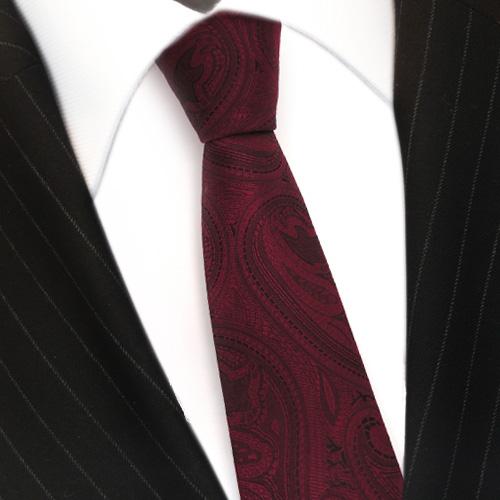 schmale TigerTie Designer Krawatte rot weinrot schwarz paisley muster Binder