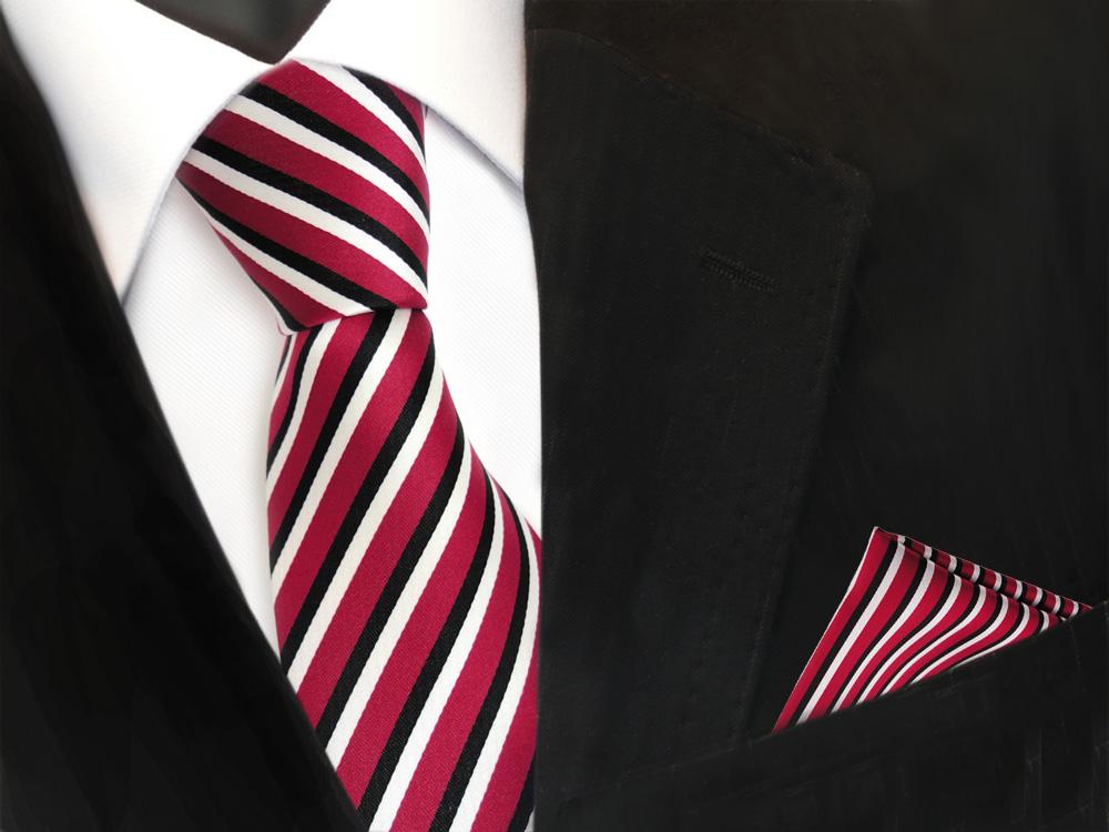 Jason/&Vogue SlimLine Designer Krawatte schmal rot schwarz weiß gestreift