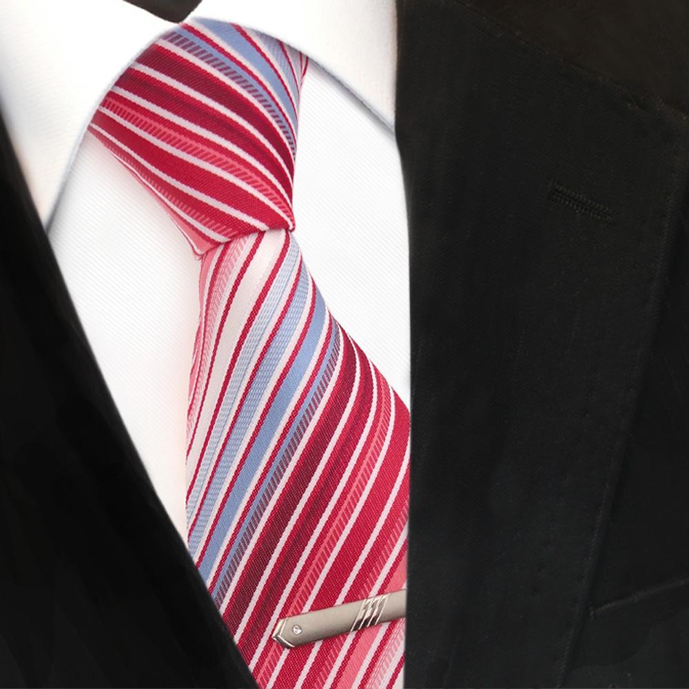 xxl designer krawatte rot blau hellblau wei creme gestreift krawattennadel der faire topshop. Black Bedroom Furniture Sets. Home Design Ideas
