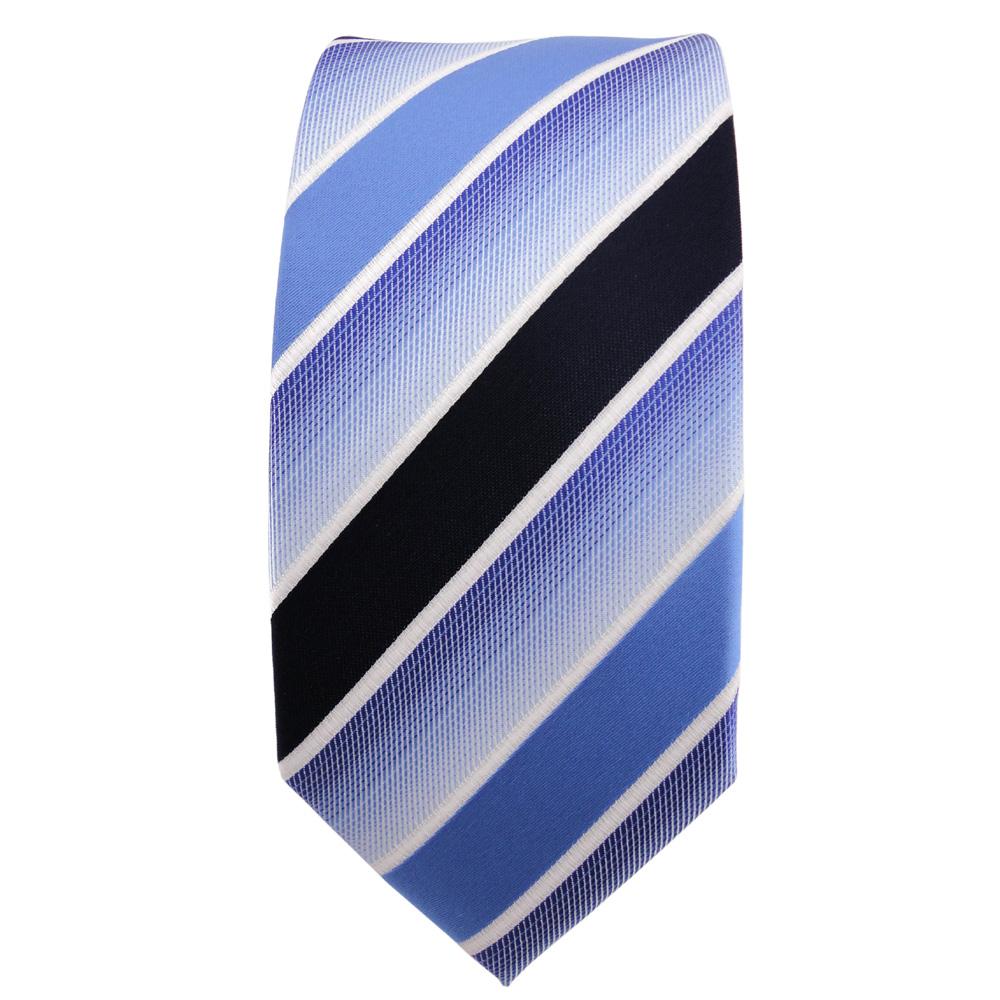 TigerTie Designer Krawatte blau hellblau dunkelblau weiß gestreift Binder Tie
