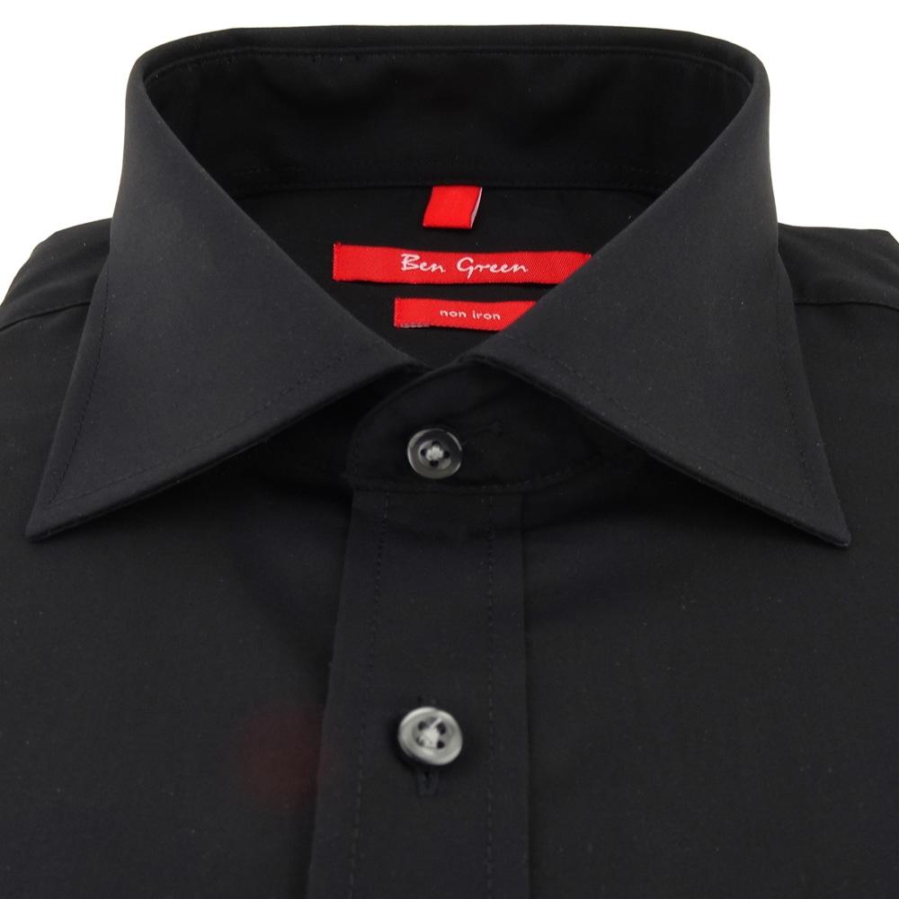 new style c58aa 7f878 Ben Green Herrenhemd schwarz Uni langarm bügelfrei - New-Kent-Kragen Hemd  Gr.40