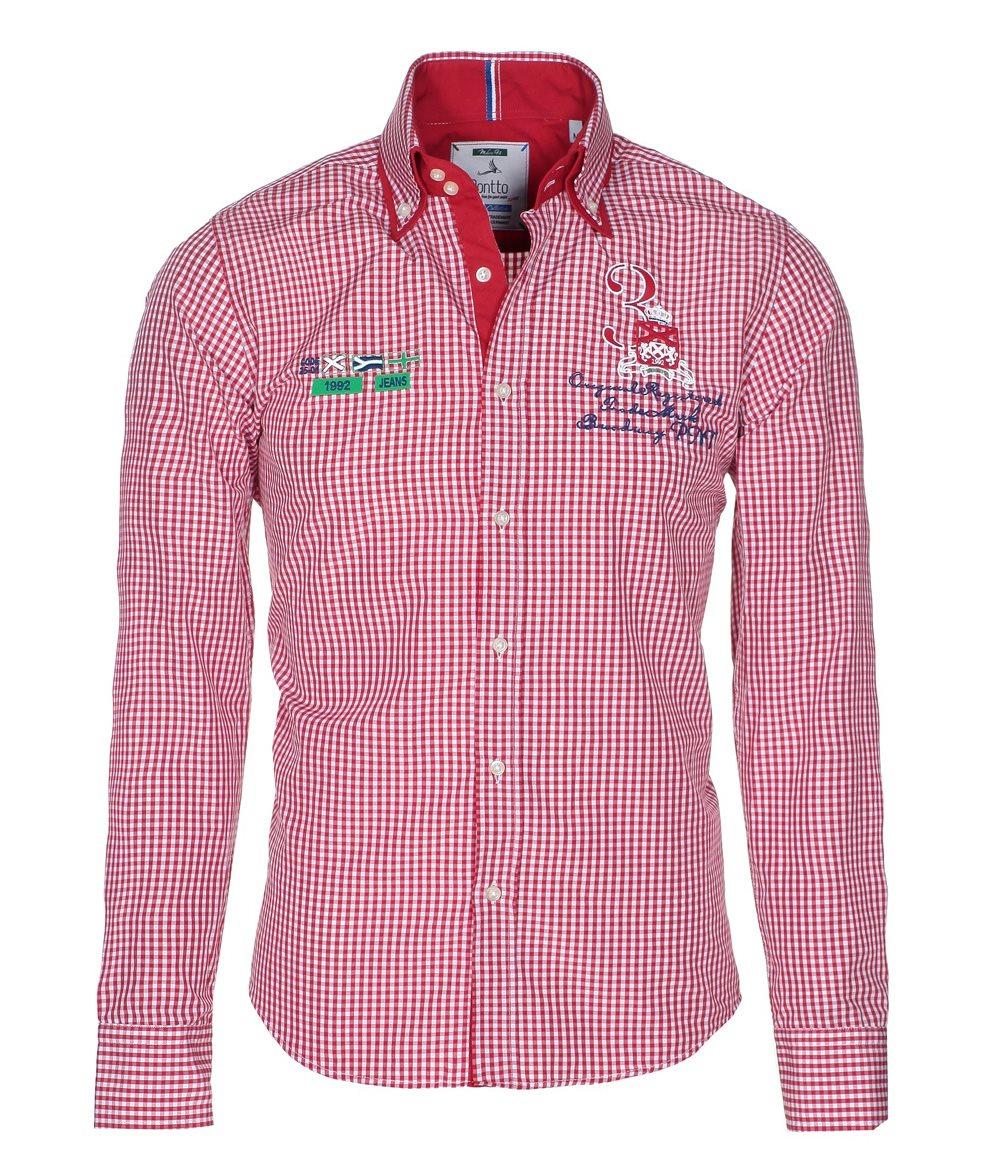 pontto designer hemd shirt in rot wei kariert langarm modern fit gr 3xl der faire topshop. Black Bedroom Furniture Sets. Home Design Ideas