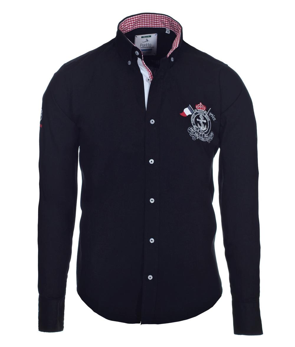pontto designer hemd shirt in schwarz einfarbig langarm modern fit gr xxl der faire topshop. Black Bedroom Furniture Sets. Home Design Ideas