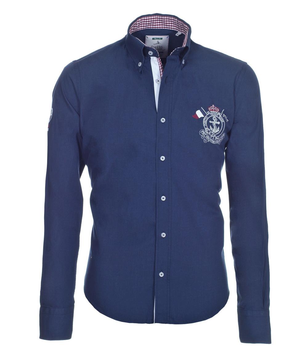 pontto designer hemd shirt in blau dunkelblau einfarbig langarm modern fit gr m der faire topshop. Black Bedroom Furniture Sets. Home Design Ideas