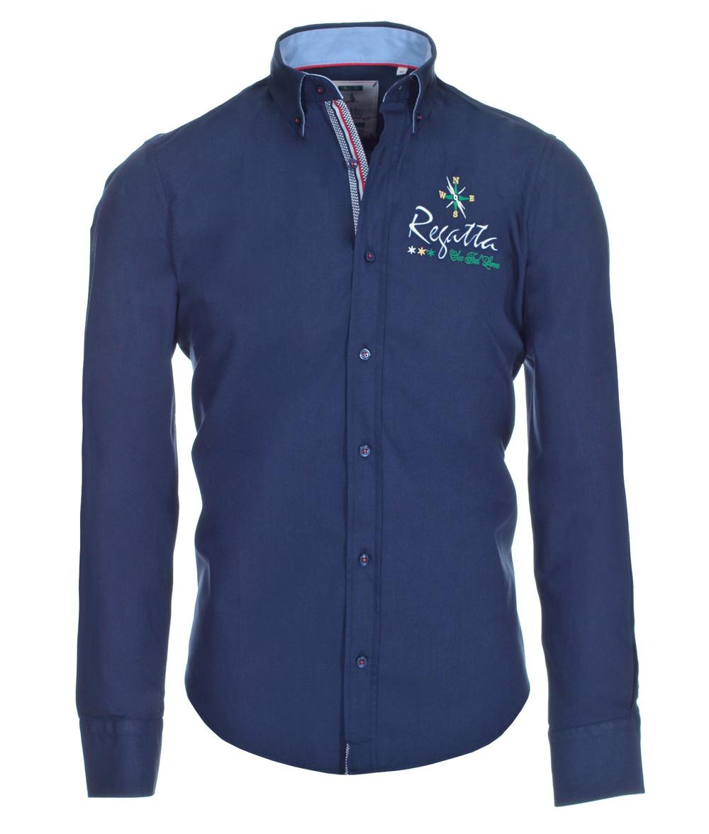 pontto designer hemd shirt in blau marine einfarbig langarm modern fit gr m der faire topshop. Black Bedroom Furniture Sets. Home Design Ideas