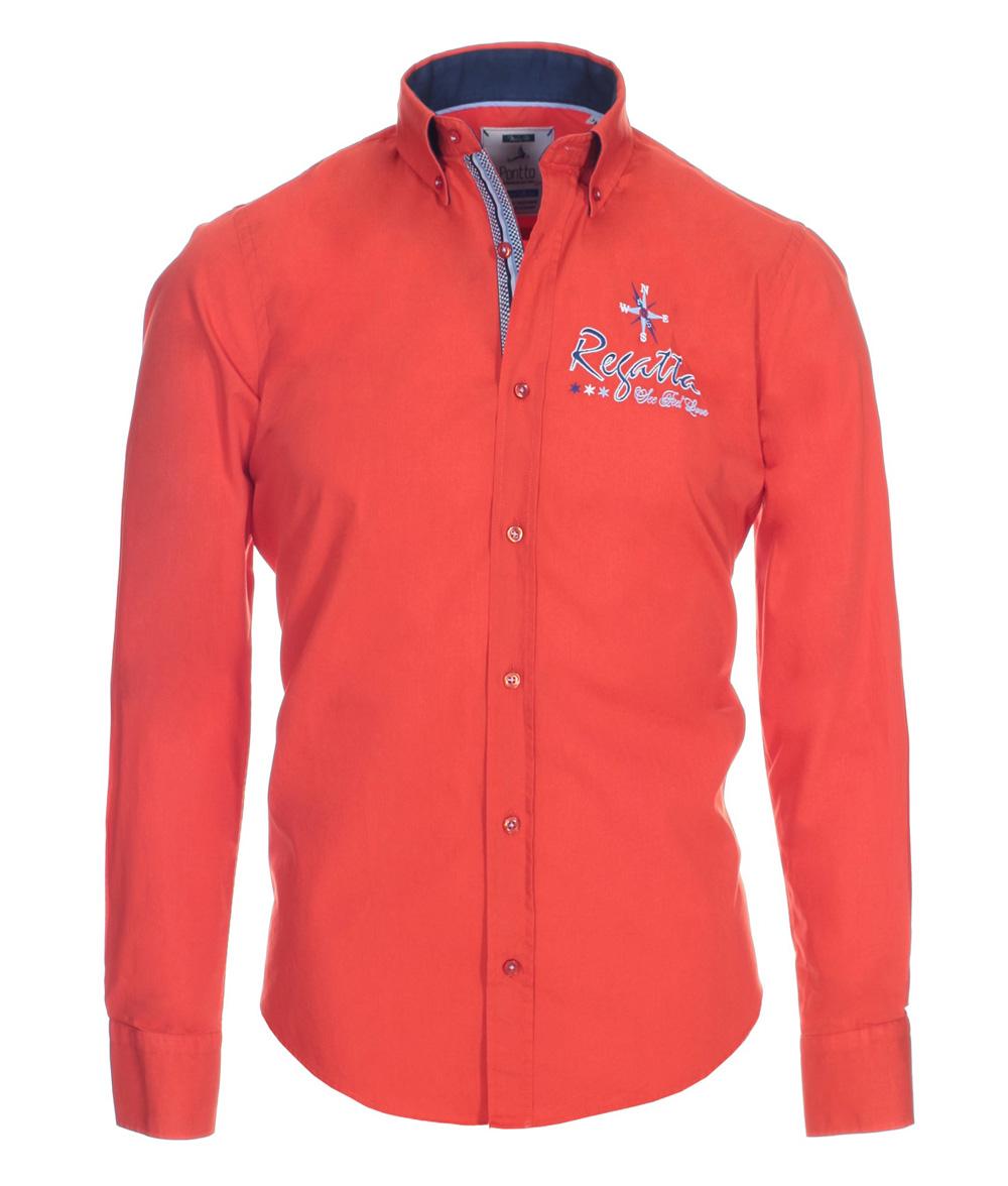 pontto designer hemd shirt orange rotorange einfarbig langarm modern fit gr m der faire topshop. Black Bedroom Furniture Sets. Home Design Ideas