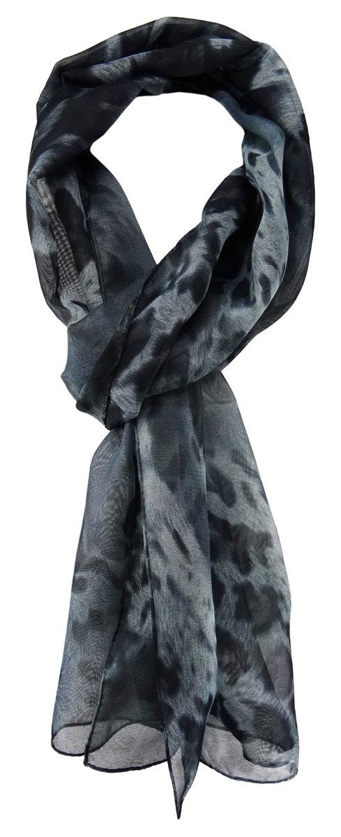 a422d0fe03c861 TigerTie Unisex Chiffon Schal in grau schwarz Stich Petrol - Leoparden  Muster