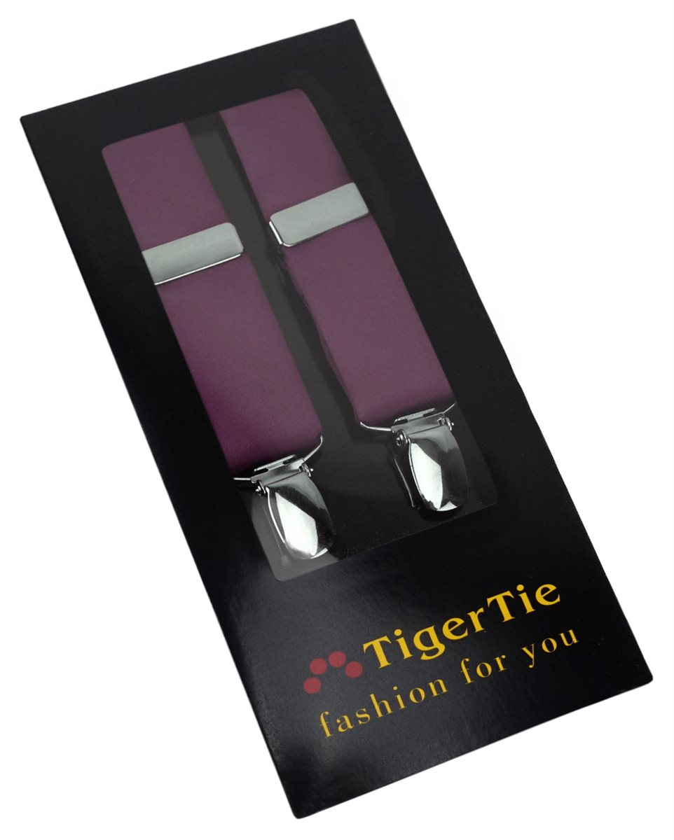 bordeauxviolett schmaler TigerTie Unisex Hosenträger mit 3 extra starken Clips