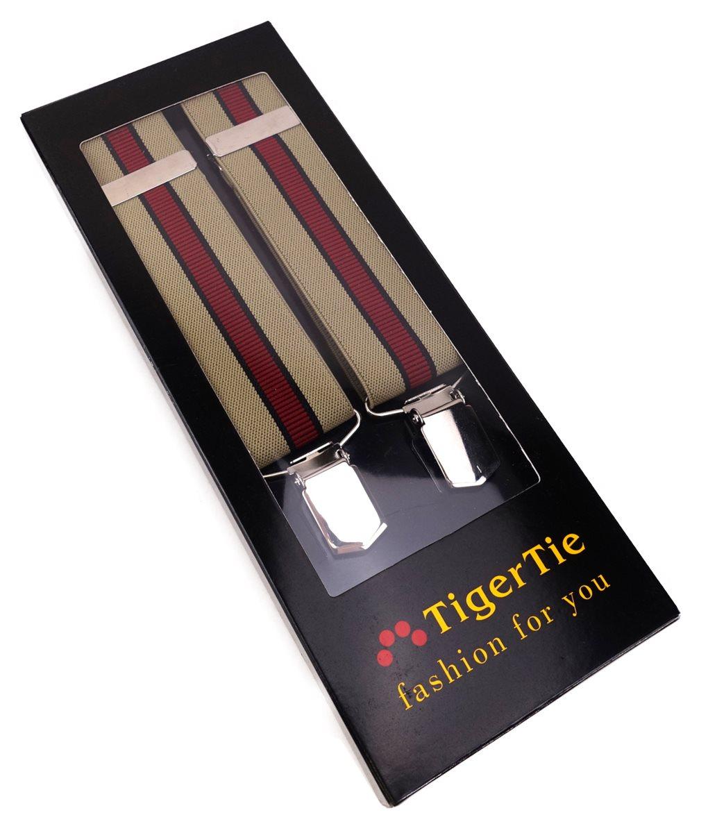 beige schwarz rot gestreift 3 extra starken Clips TigerTie Unisex Hosenträger