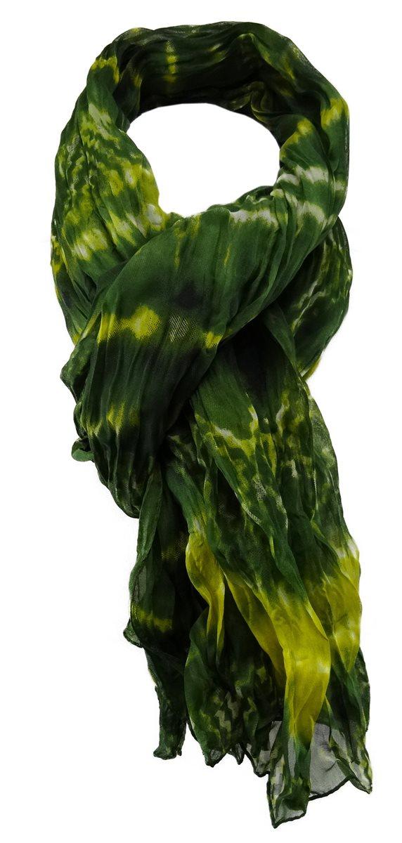 895a012fef1de1 TigerTie Chiffon Schal in grün grau olive gemustert - Der faire Topshop