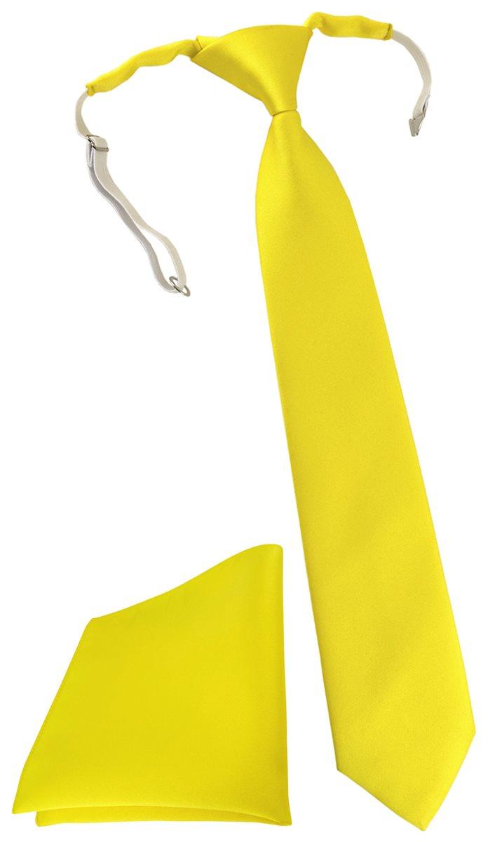 Einstecktuch in gelb Uni vorgebunden mit Gummizug TigerTie Kinderkrawatte
