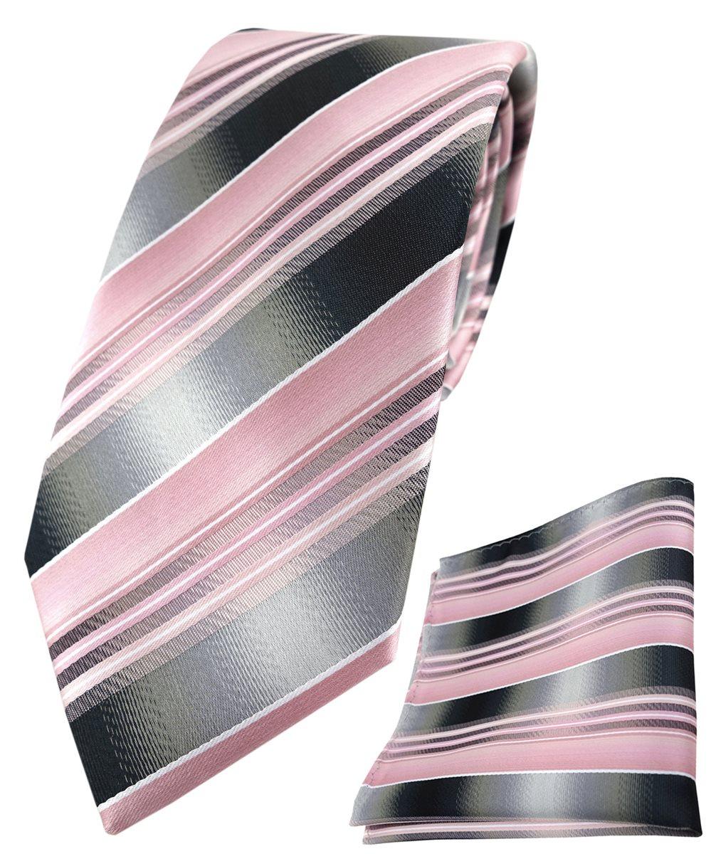 TigerTie Einstecktuch in bordeaux pink rosa grau silber schwarz gestreift