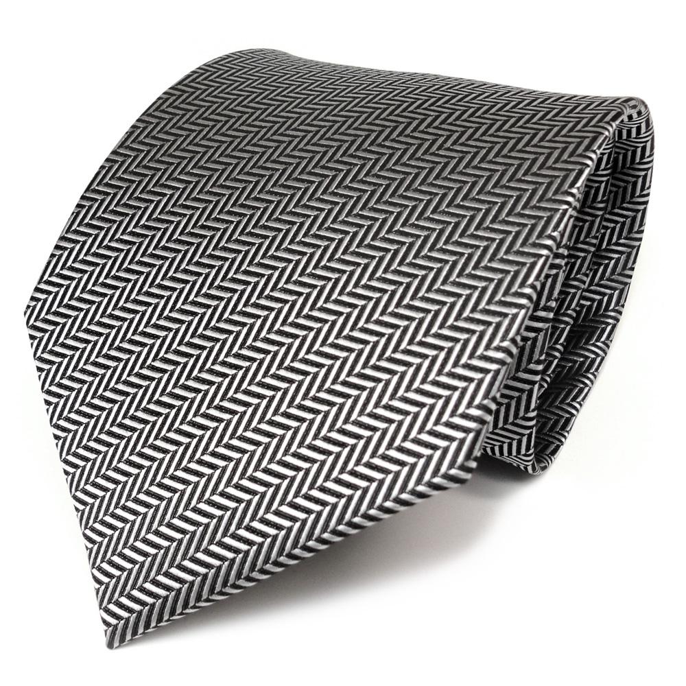 TigerTie Designer Krawatte schwarz silber grau gestreift Schlips Binder Tie