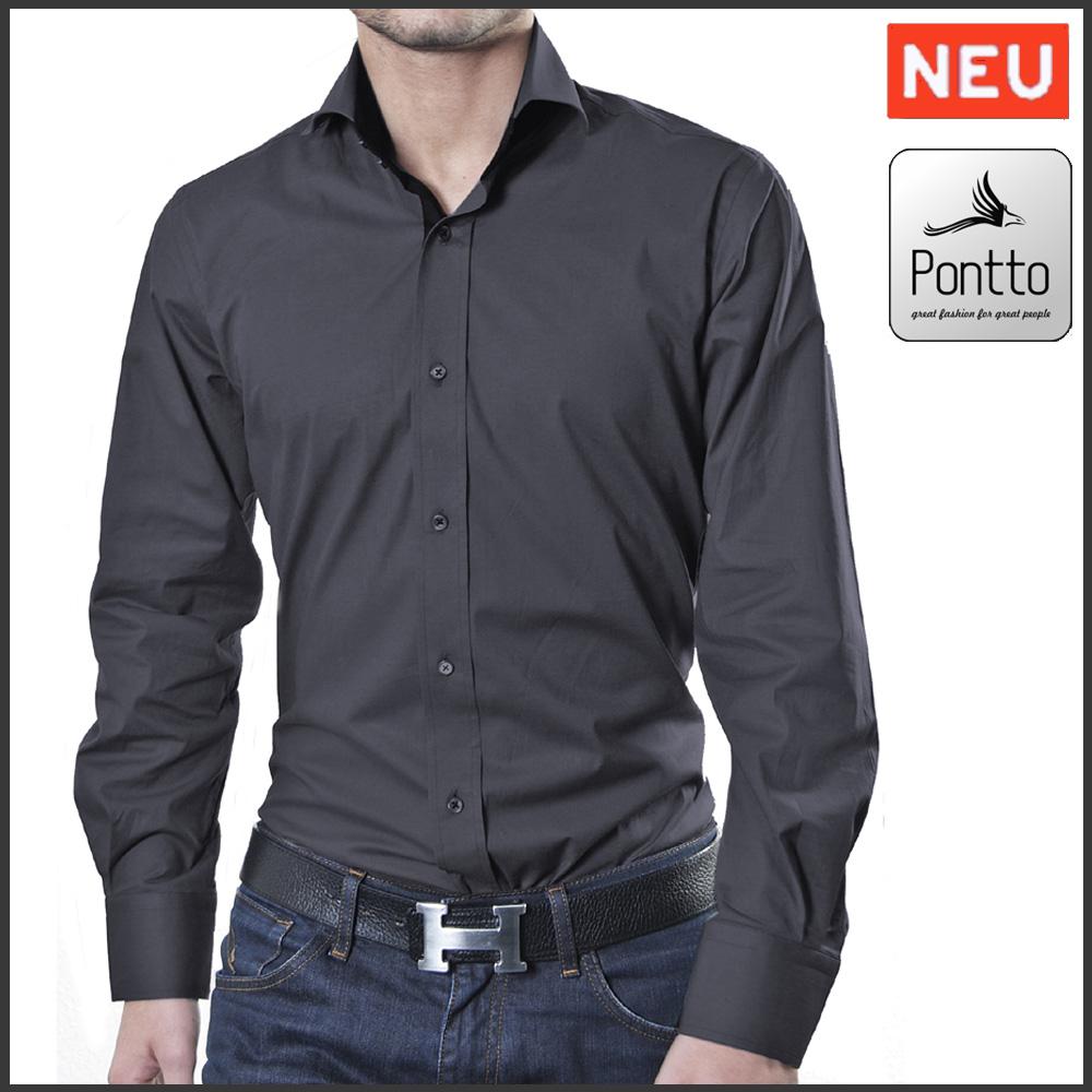 quality design 7e5fb 940b1 Designer Herrenhemd Farbe grau-schwarz uni langarm Größe S