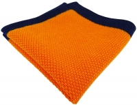 TigerTie Designer Strick Einstecktuch in orange marine Uni - 100% Baumwolle